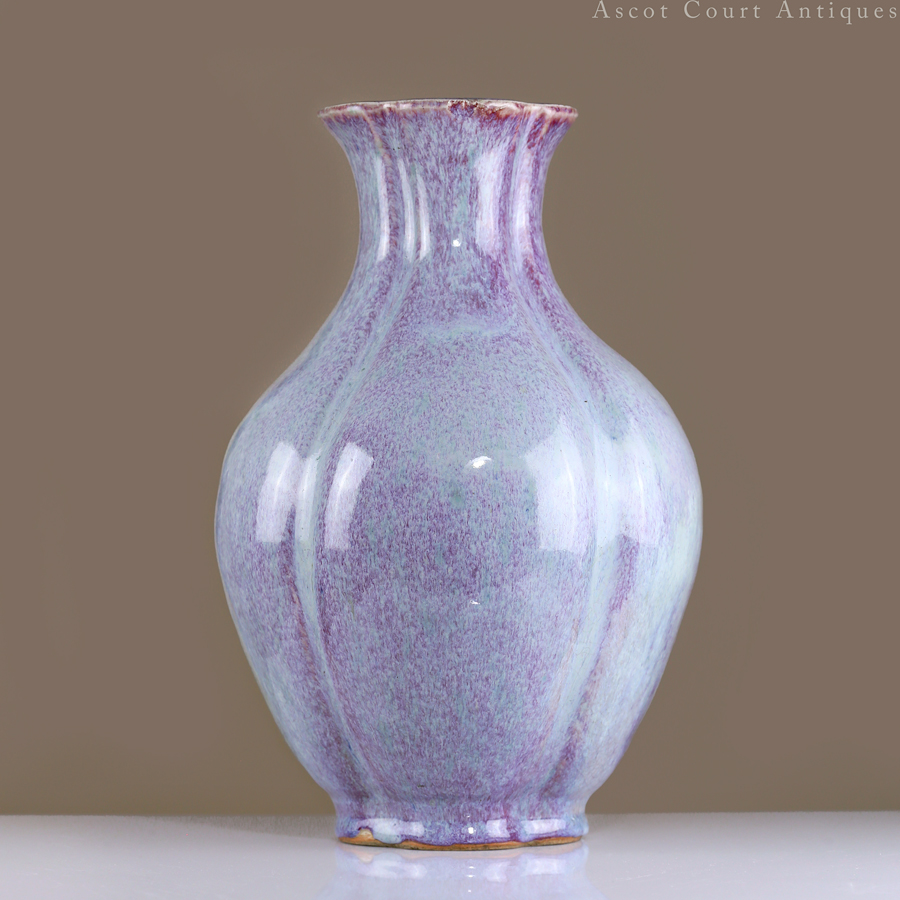 18th Century Qing Jun-type Flambé Glaze Quatrefoil Vase