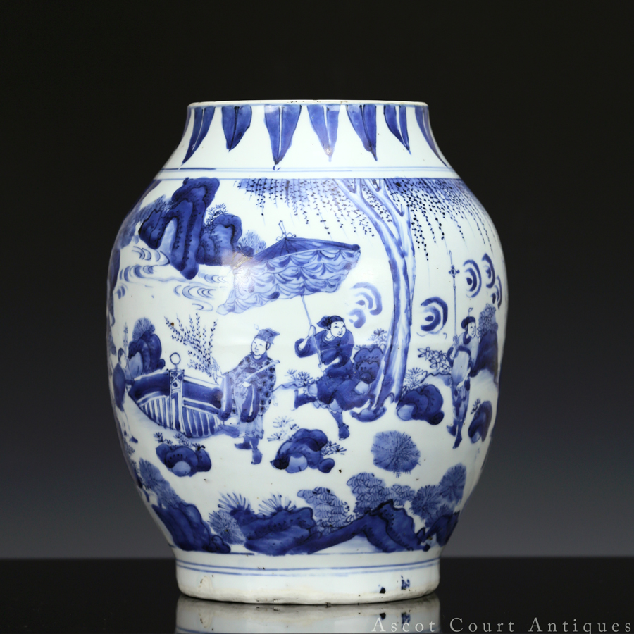 Ming Chongzhen Transitional Blue And White 'Liangzi Guan' Jar