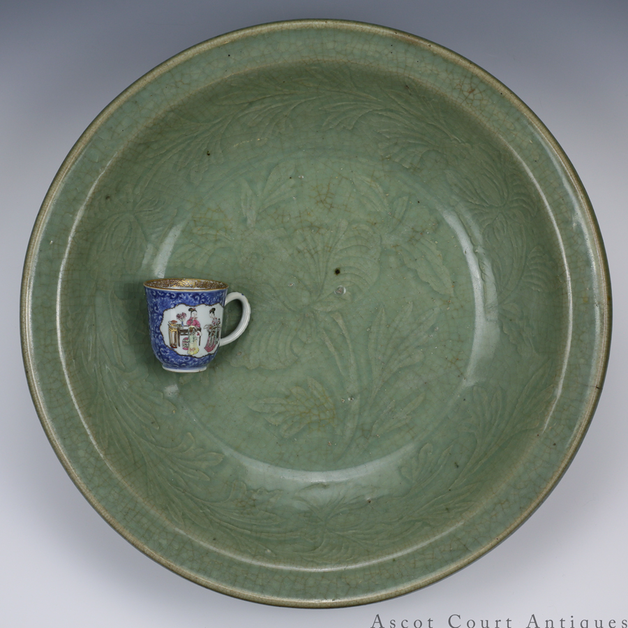Mid-Ming Carved Longquan Celadon Charger