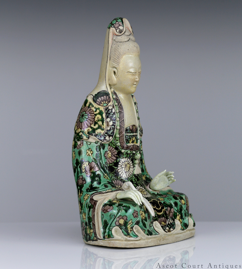 Kangxi Biscuit Decorated Susancai Guanyin