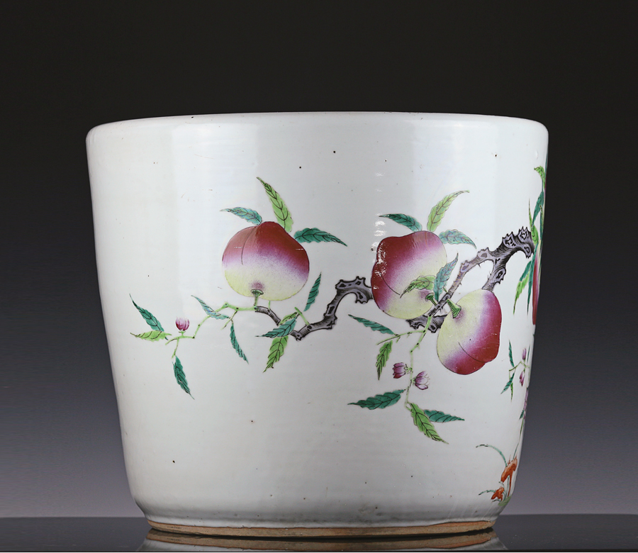 Late Qing Famille Rose Nine Peach Jardiniere
