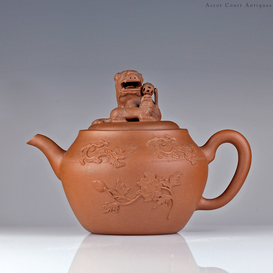 Kangxi Yixing Teapot With Appliqué Motifs & Lion Finial