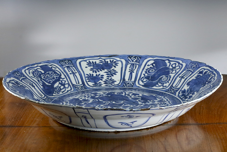 Ming Wanli Kraak Porselein Blue and White Charger