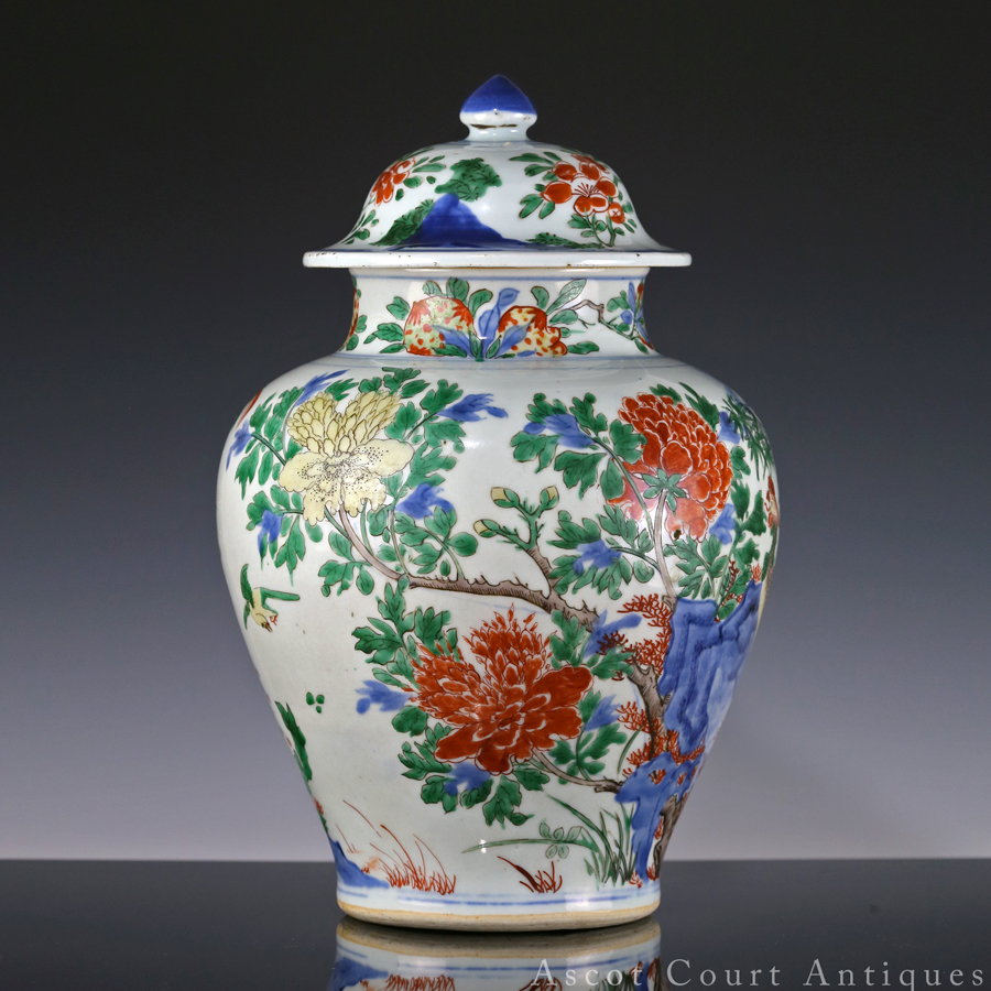 17th c Transitional Period Shunzhi Wucai Jar