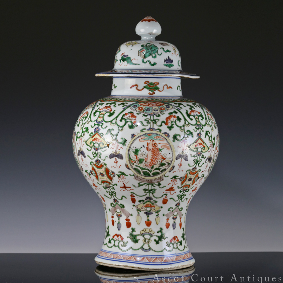 Kangxi Famille Verte Baluster Jar And Cover
