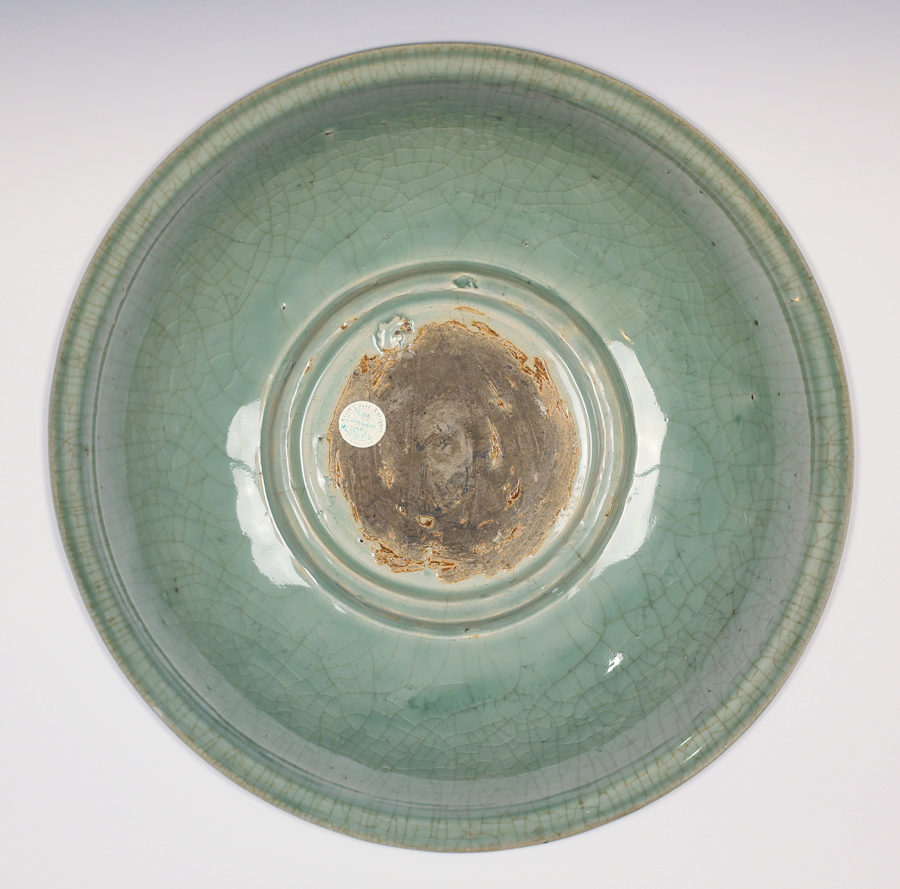Carved 16th C Ming Longquan Celadon Charger