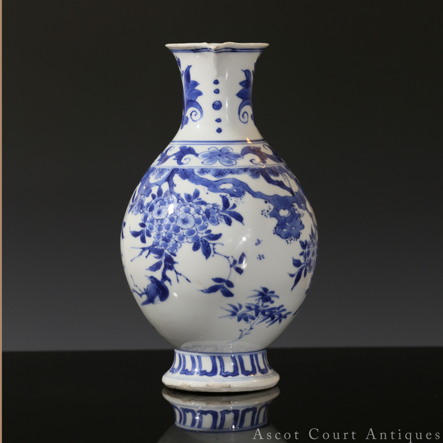 Chongzhen Transitional Blue And White Floral Ewer
