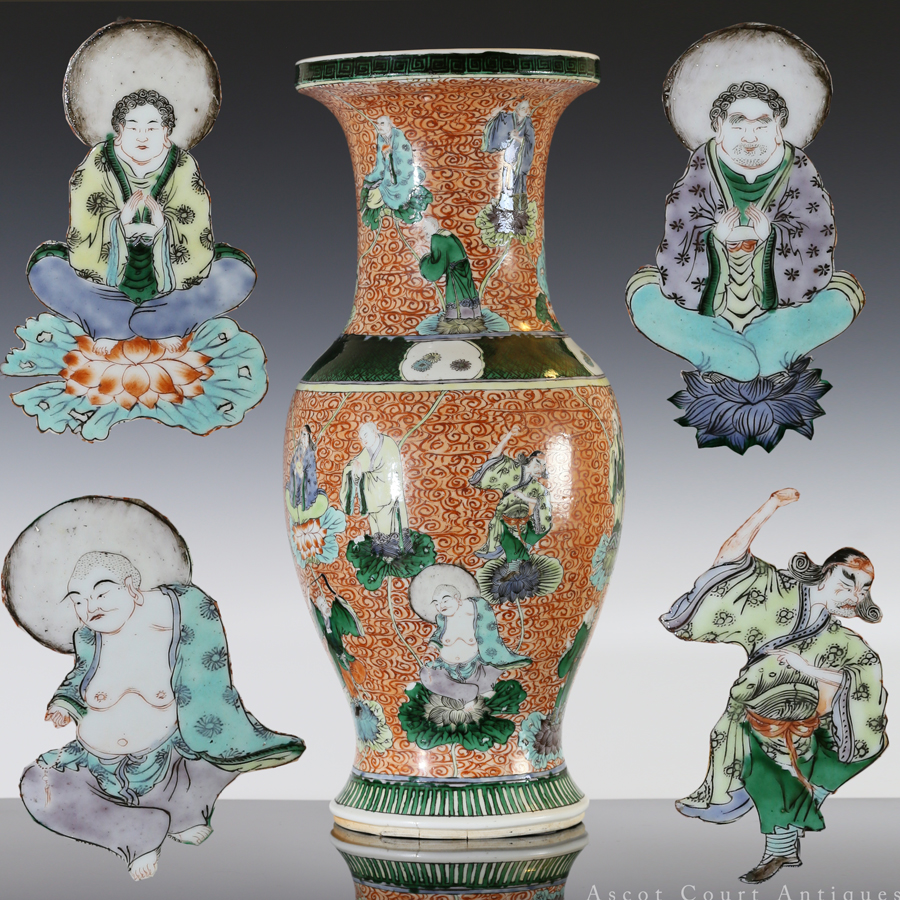 Late Qing Famille Verte Vase with Eighteen Luohans