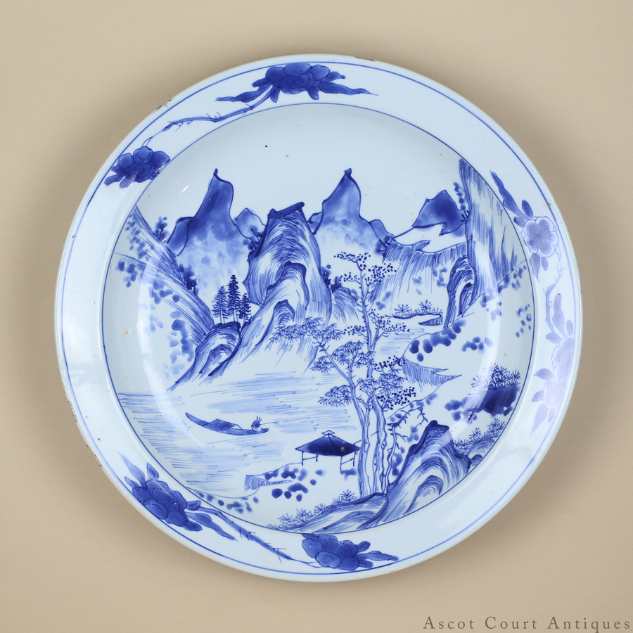 17th c Early Kangxi Blue & White Master Of The Rocks Plate 17世纪康熙早起青花盘
