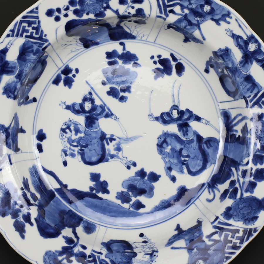 清康熙 青花人物图盘 Kangxi Mark and Period Blue and White Figural Plate