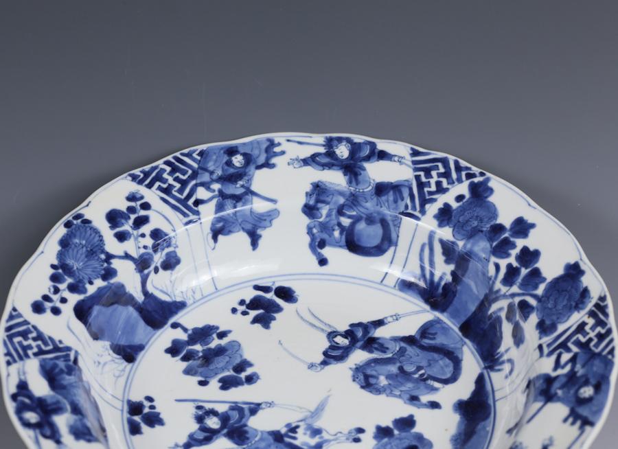 Kangxi Mark and Period Blue and White Figural Plate