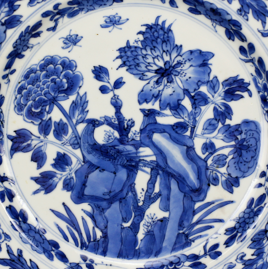 Kangxi Blue and White Plate With Pheasants Among Flora 清康熙 青花雉鸡牡丹纹盘