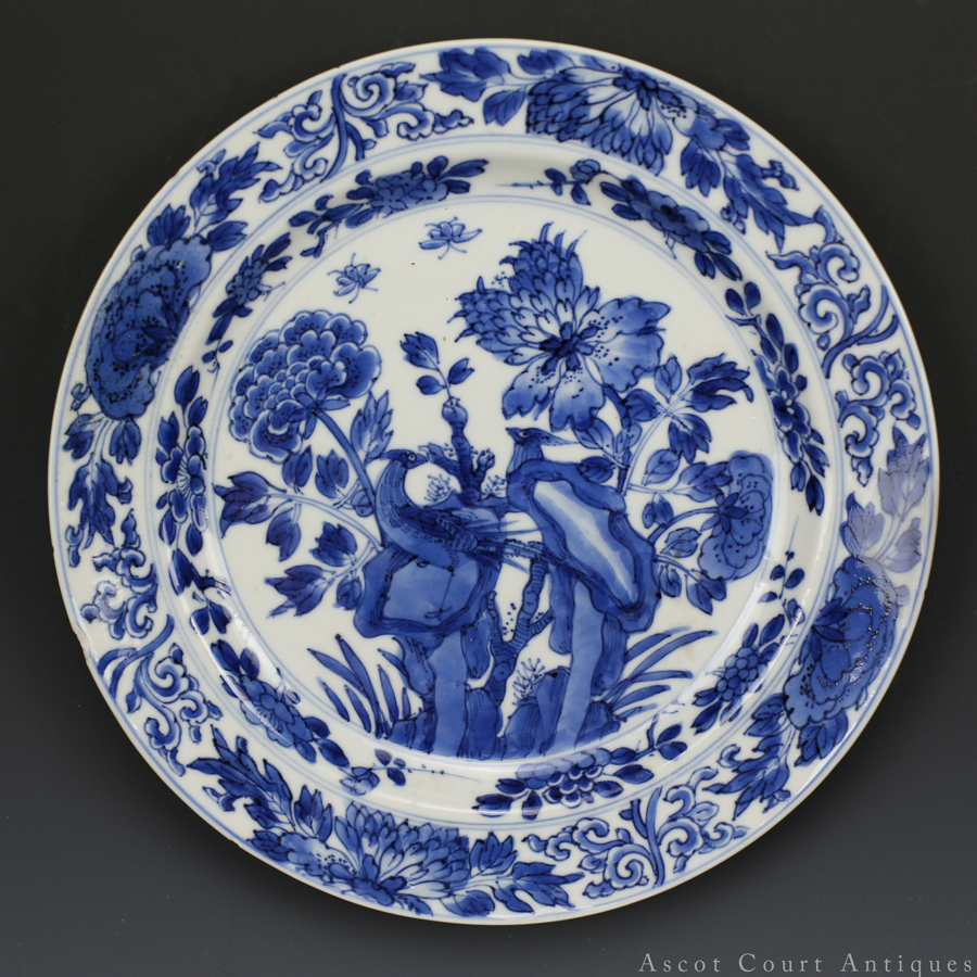清康熙 青花雉鸡牡丹纹盘 Kangxi Blue and White Plate With Pheasants Among Flora