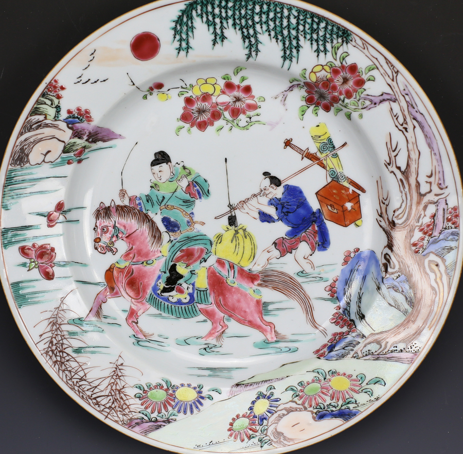 Yongzheng Famille Rose 'Romance of the Western Chamber' Plate