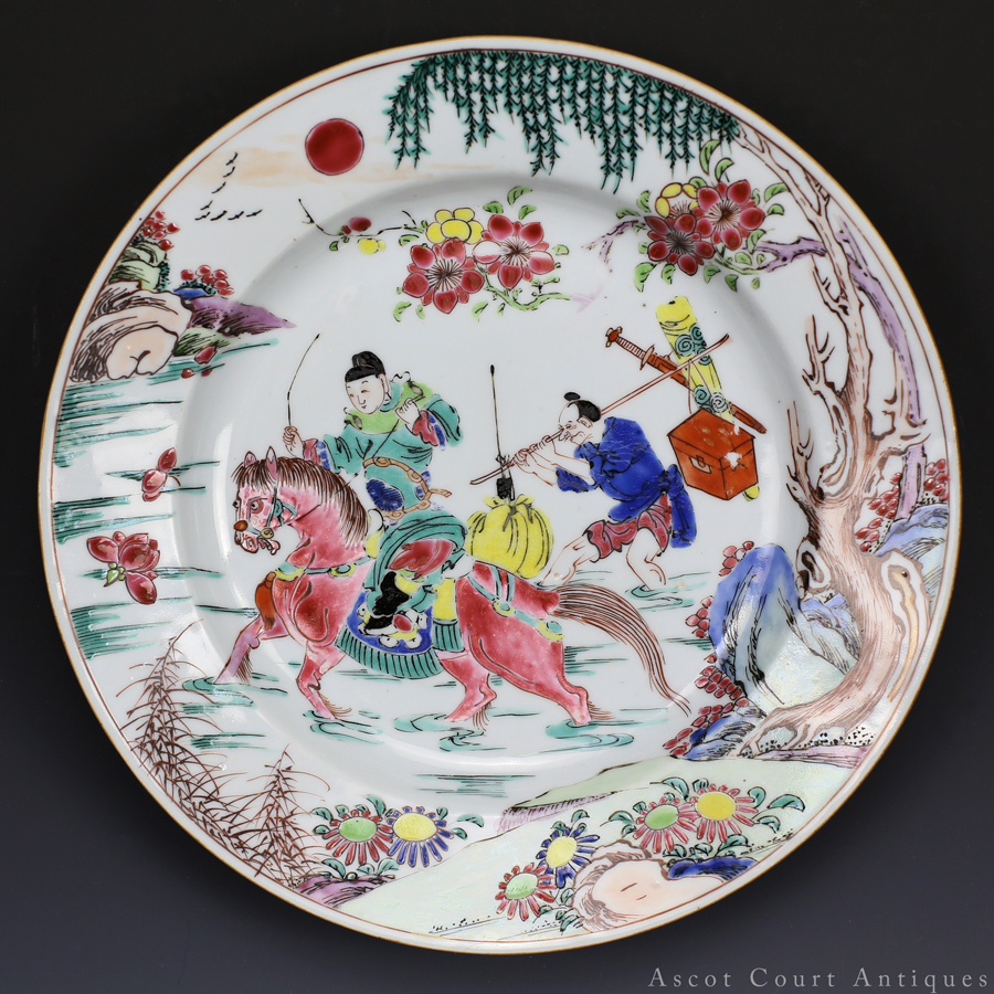 清雍正 粉彩张生赶考图盘 Yongzheng Famille Rose 'Romance of the Western Chamber' Plate