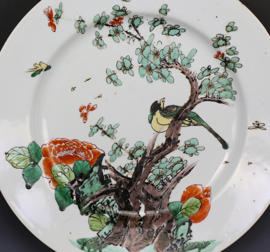 Kangxi Famille Verte Bird and Flower Plate 清康熙 五彩花鸟图盘