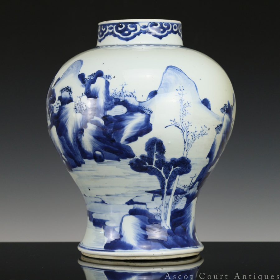 清康熙 青花人物山水图罐 Kangxi Blue and White Landscape Baluster Jar