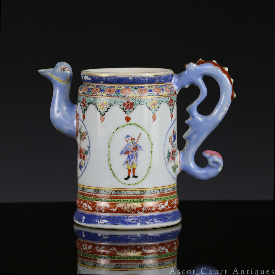 清乾隆 粉彩洋人图咖啡杯 (外销瓷)Qianlong Famille Rose European Subject Export Coffee Pot