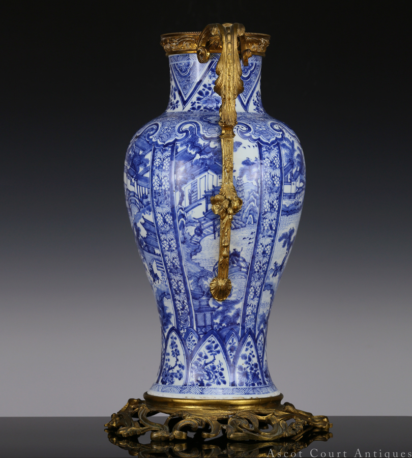 Kangxi Blue and White Ormolu Mounted 'West Lake' Vase