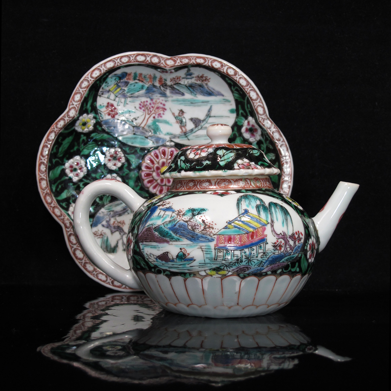 Yongzheng Famille Rose Landscape Teapot and Dish [Sold]