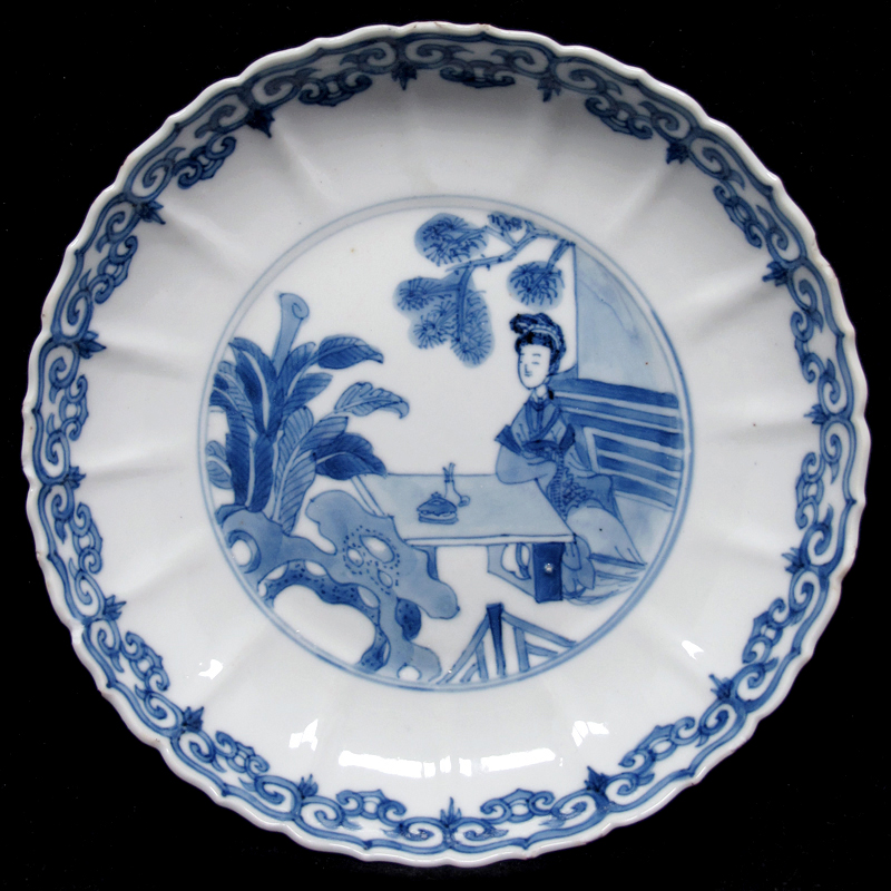 清康熙 青花仕女图盘 Kangxi Blue and White 'Beauty' Dish