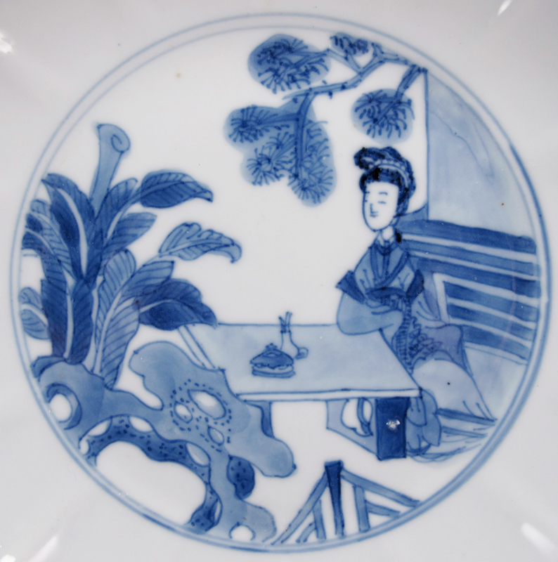Kangxi Blue and White 'Beauty' Dish 清康熙 青花仕女图盘