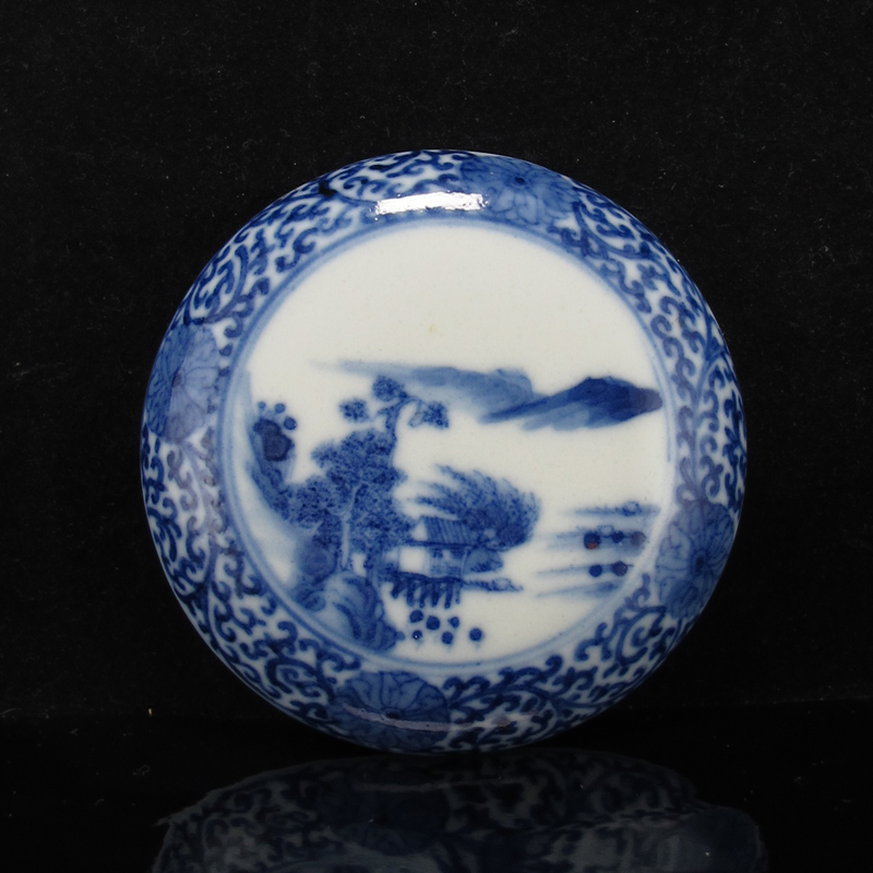 19th c Blue and White Landscape Paste Box