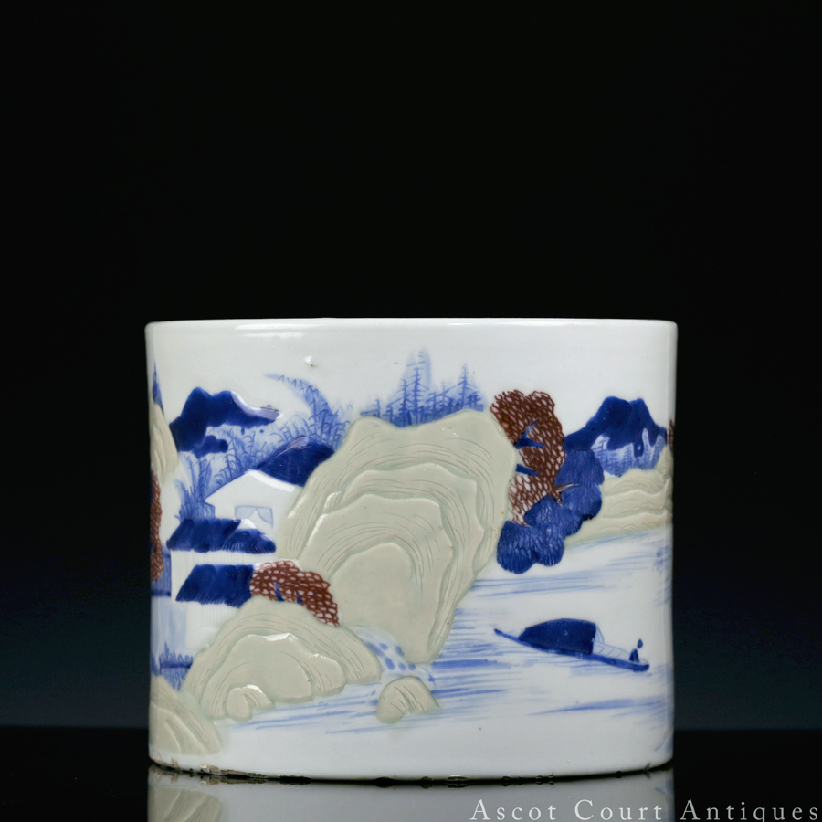 Kangxi Brushpot Blue and White Copper Red Celadon Landscape
