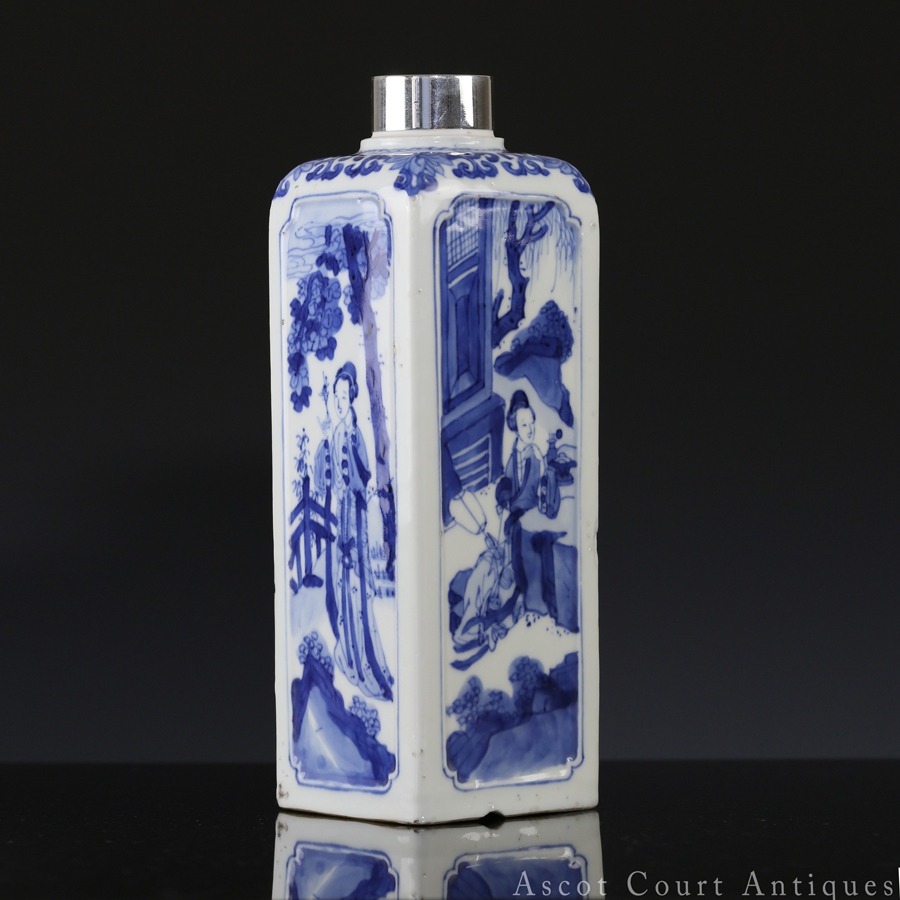 Kangxi Blue and White Figural Four Sided Bottle