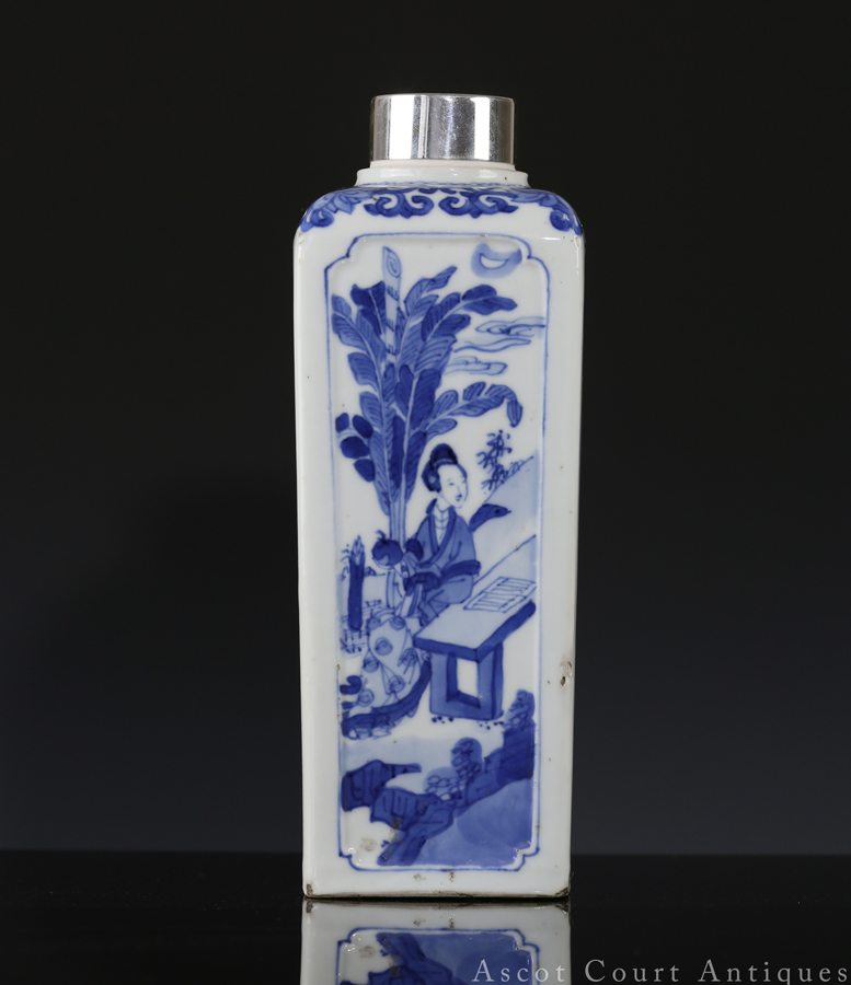 Kangxi Blue and White Figural Four Sided Bottle 清康熙 青花仕女图四方瓶