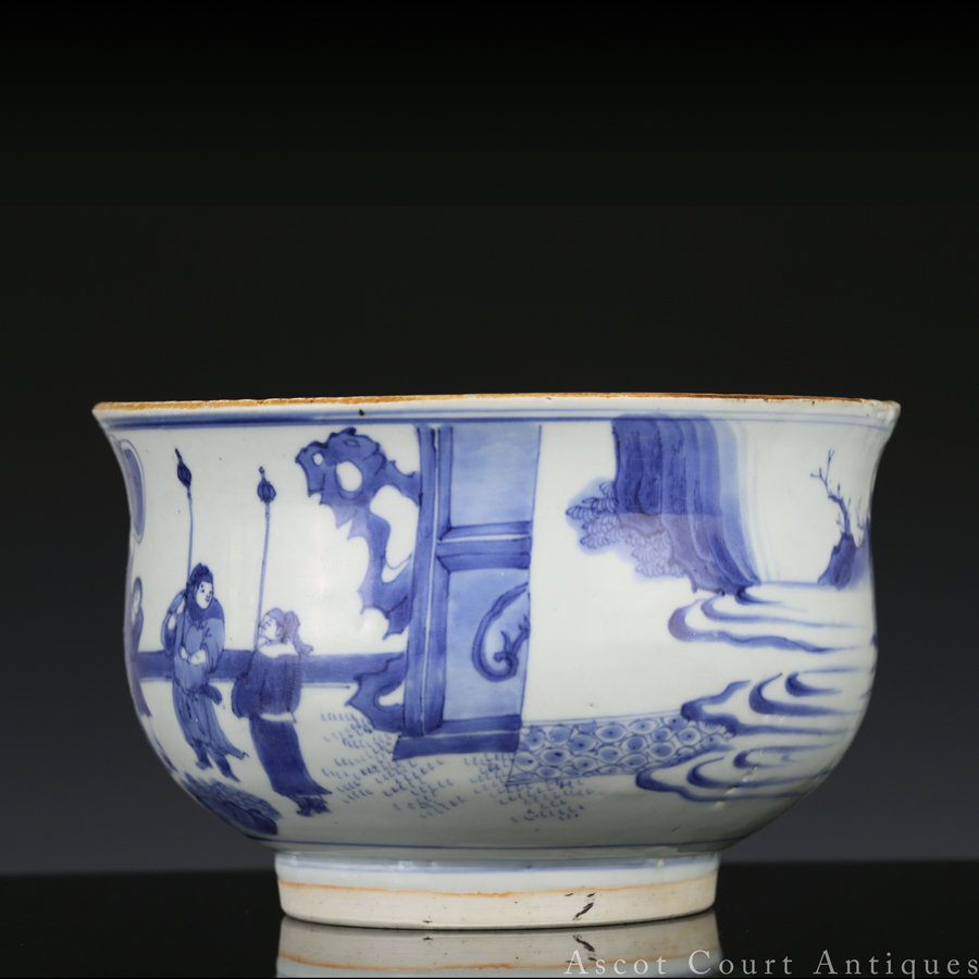 Ming Chongzhen Transitional Blue and White Censer 明崇祯 青花人物香炉